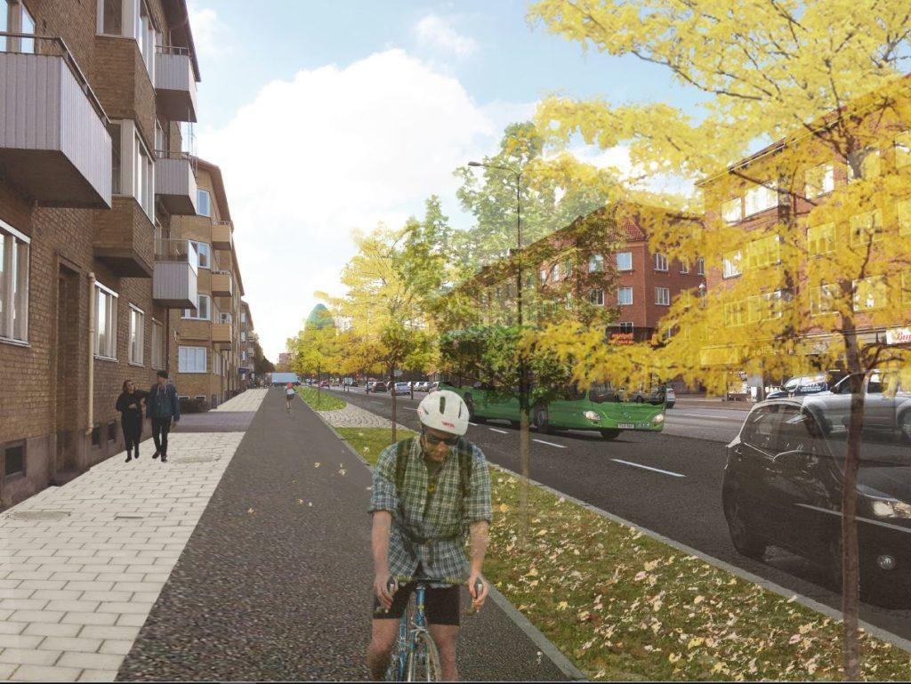Den nya cykelbana på Nobelvägen
