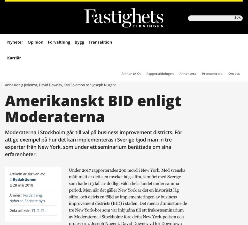 Pressklipp om Stockholmsmoderaterna och BID