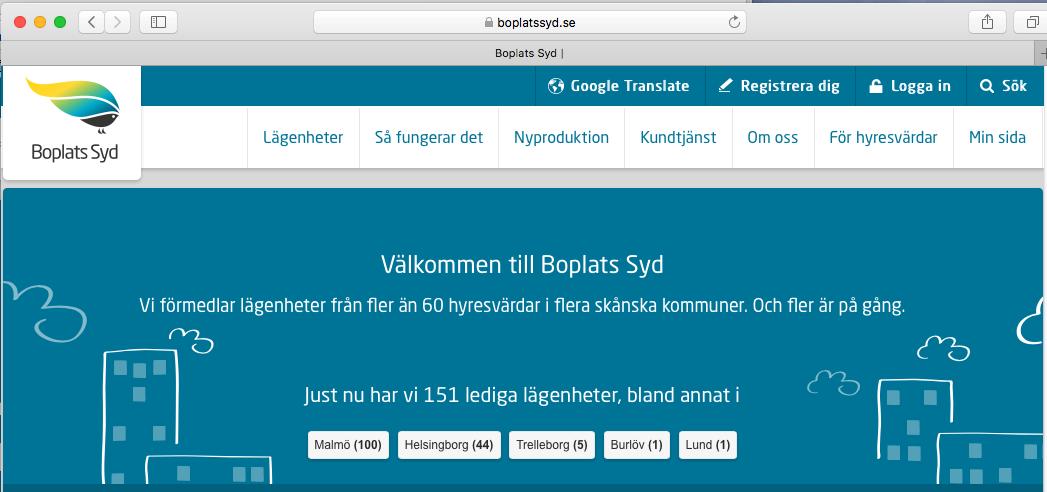 Boplats Syds hemsida, boplatssyd.se