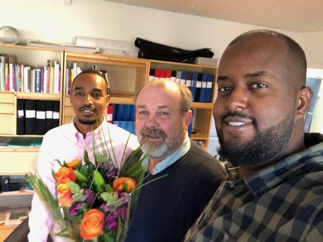 Mustaf Osman, Zakaria Abdi Aziz och Hjalmar Falck