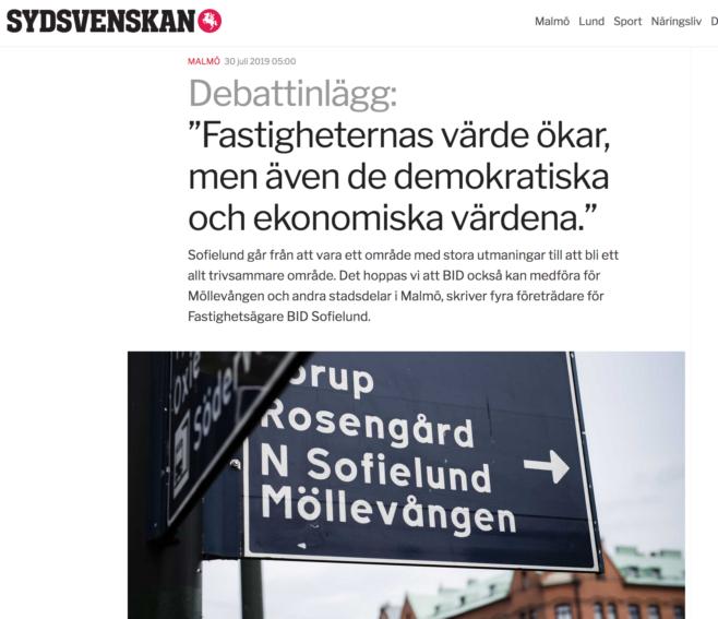 Debattartikel i Sydsvenskan