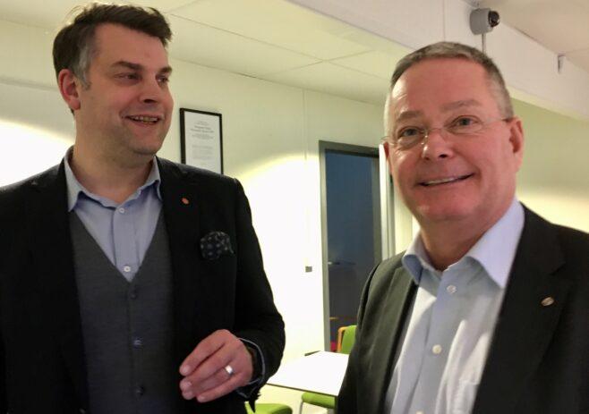 Andreas Schönström, kommunalråd (S), och Michael Carlsson, vd för HSB Malmö
