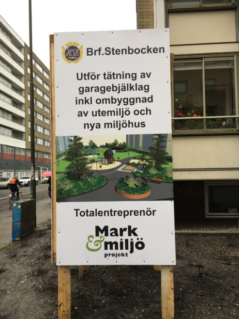 Skylt hos Brf. Stenbocken