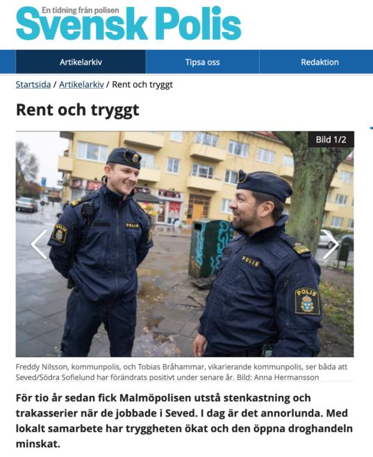 skärmdump från tidningen Svensk Polis